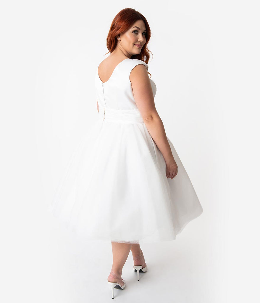 Unique Vintage x Dolly Couture Plus Size White Satin & Mesh Tea Length
