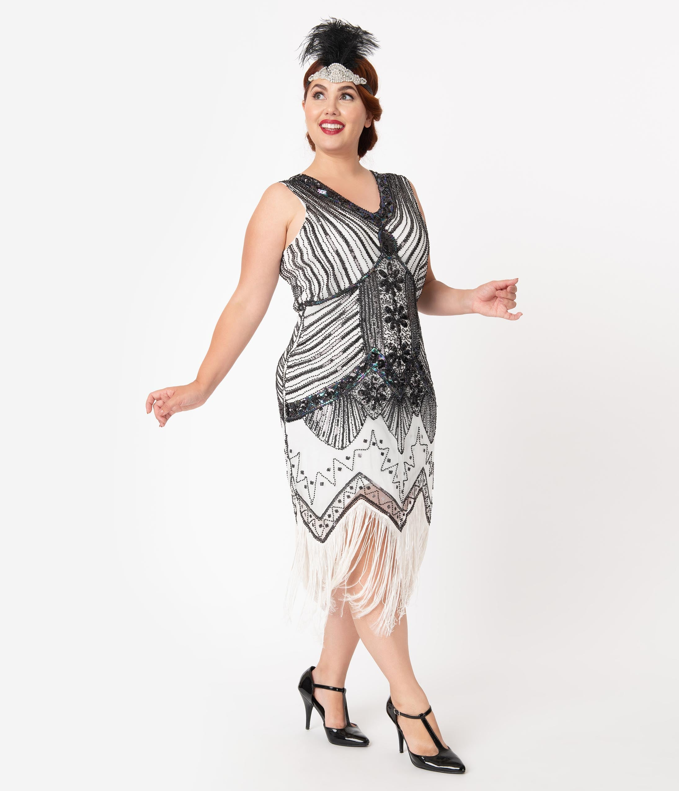 1920s Plus Size Flapper Dresses, Gatsby Dresses, Flapper Costumes Unique Vintage Plus Size 1920S Deco White  Black Sequin Veronique Fringe Flapper Dress $98.00 AT vintagedancer.com