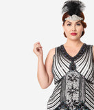 Unique Vintage Plus Size 1920s Deco White & Black Sequin Veronique Fringe Flapper Dress