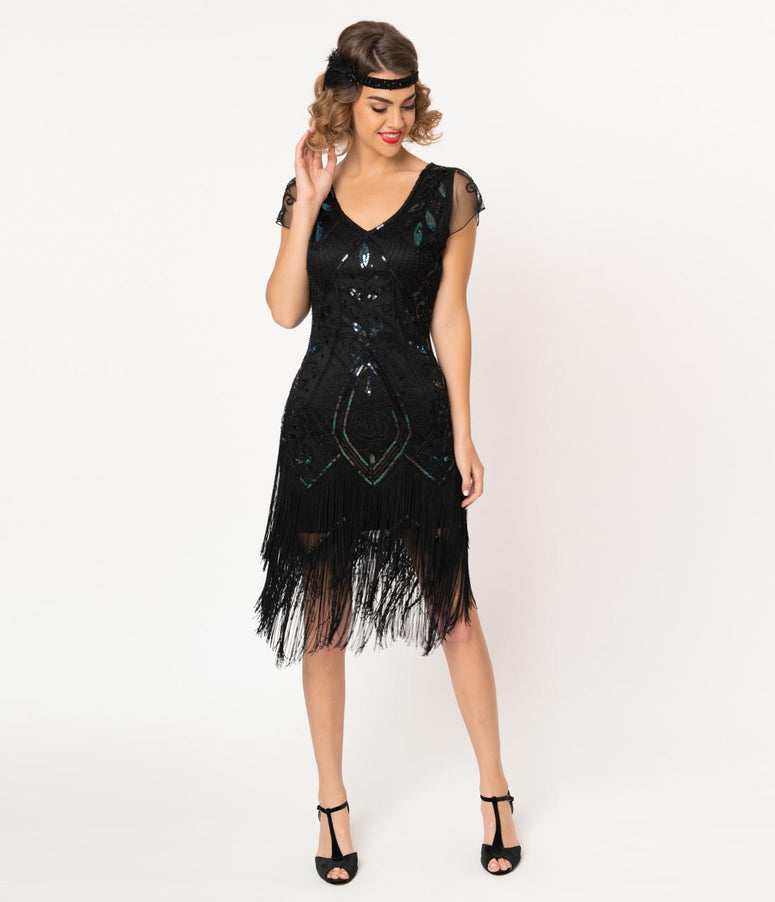 Unique Vintage 1920s Black Beaded Noele Fringe Flapper Dress