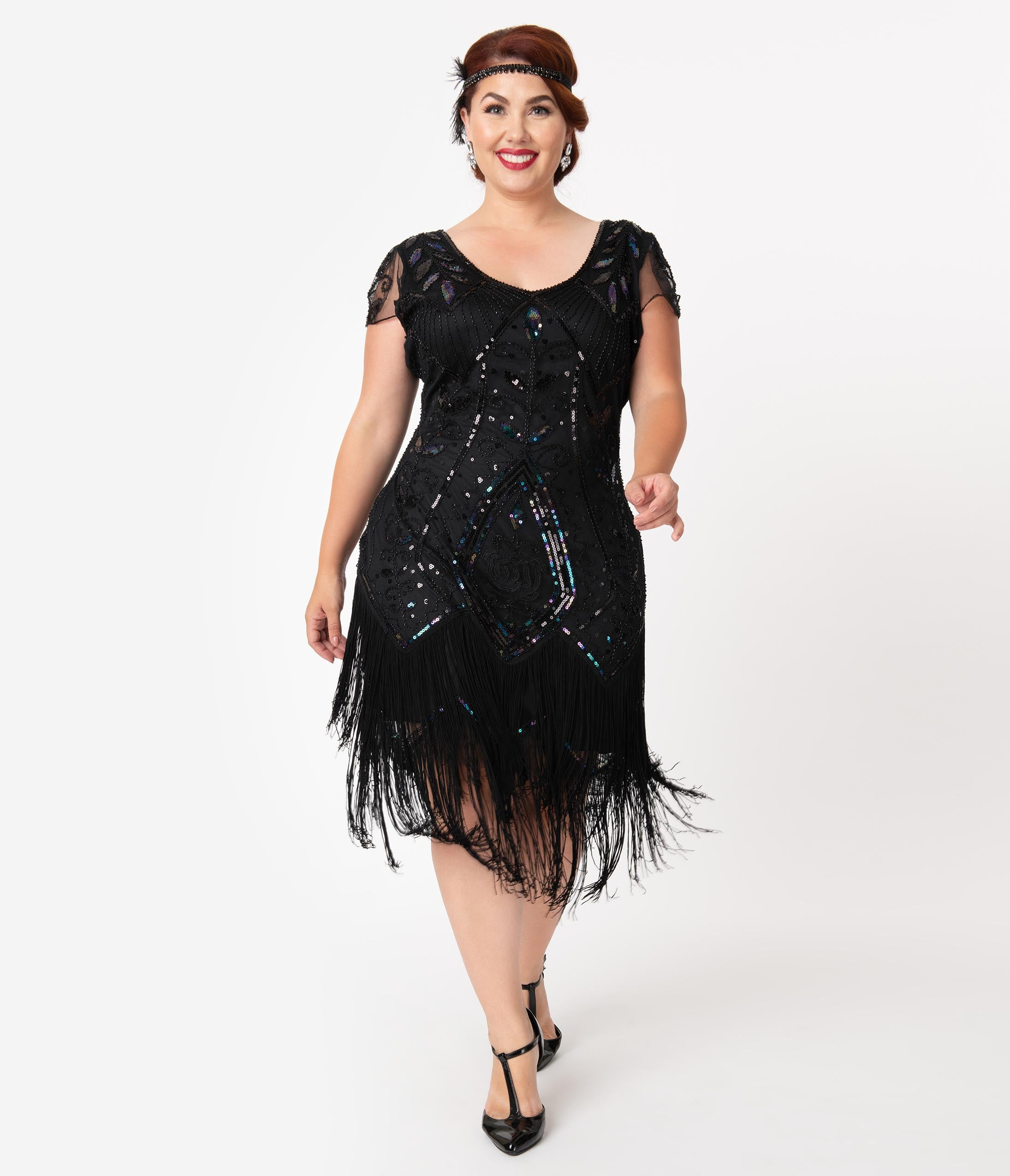 1920s Plus Size Flapper Dresses, Gatsby Dresses, Flapper Costumes Unique Vintage Plus Size 1920S Black Beaded Noele Fringe Flapper Dress $98.00 AT vintagedancer.com