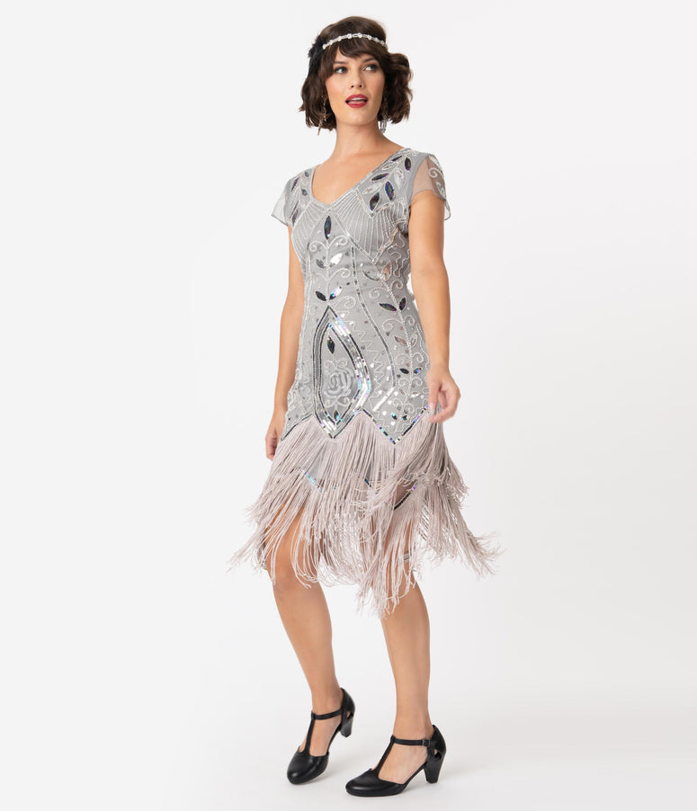 Unique Vintage 1920s Silver Beaded Noele Fringe Flapper Dress