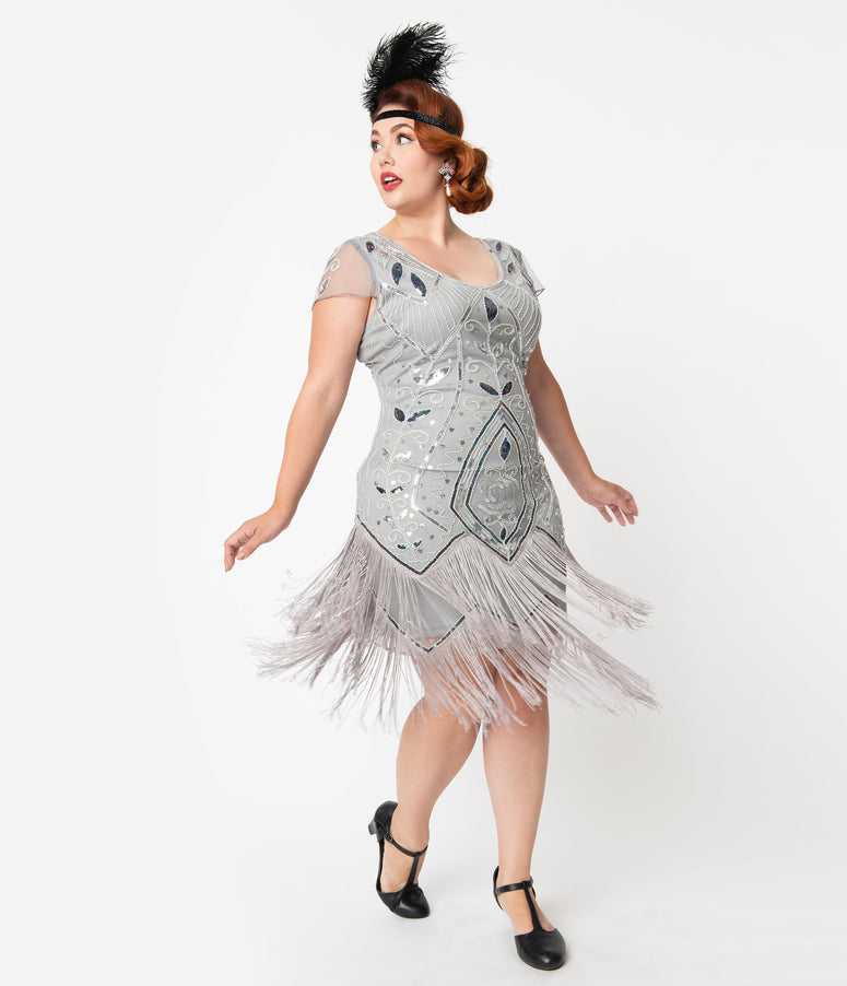 Unique Vintage Plus Size 1920s Silver Beaded Noele Fringe Flapper Dress