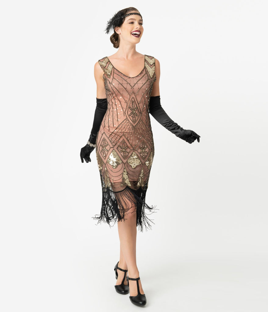 Unique Vintage Rose Pink & Gold Sequin Lina Fringe Flapper Dress