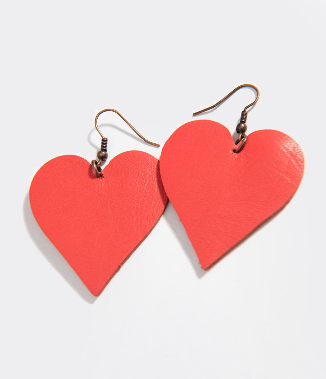 Vintage Christmas Dress | Party Dresses | Night Out Outfits Red Leatherette Heart Earrings $18.00 AT vintagedancer.com