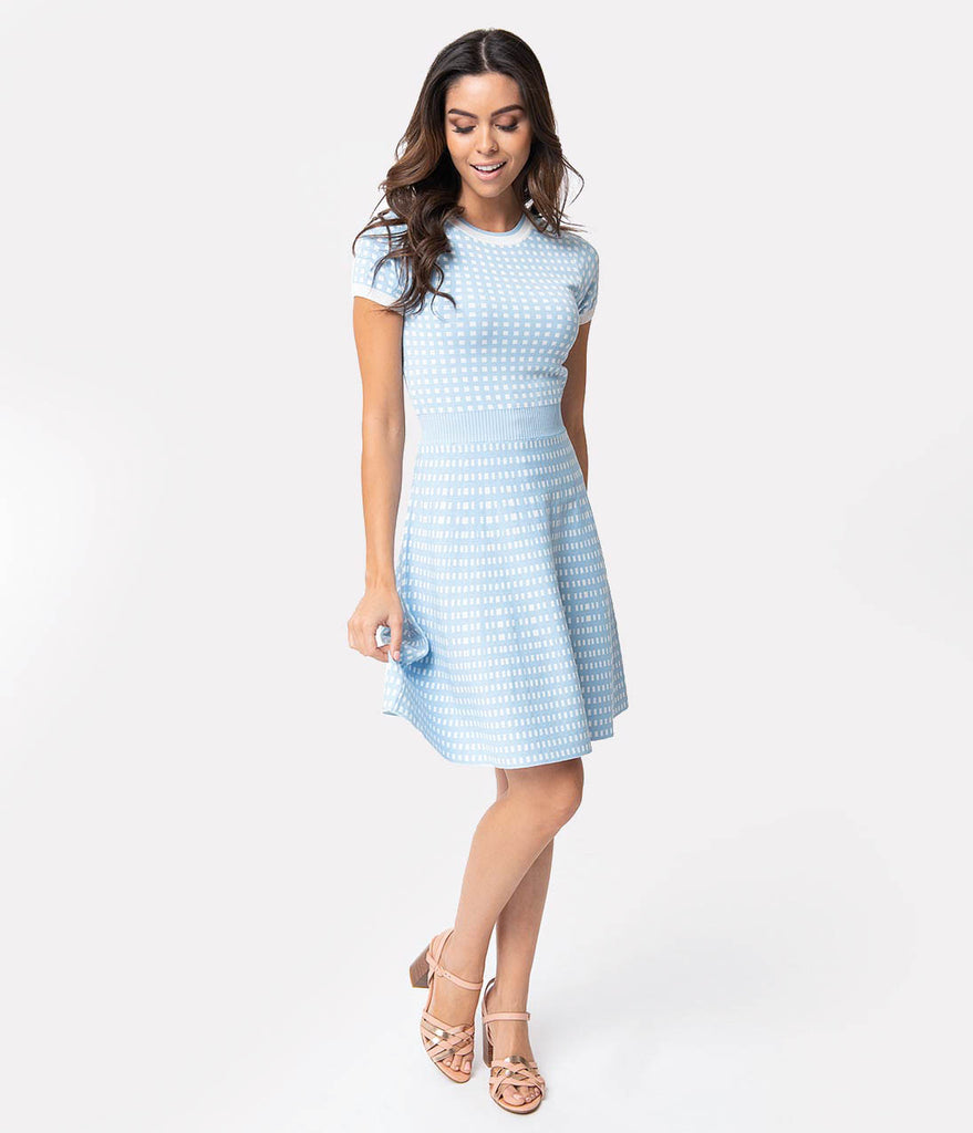 Retro Style Light Blue & White Gingham Fit & Flare Sweater Dress