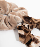 Leopard & Beige Velvet Hair Scrunchie Set