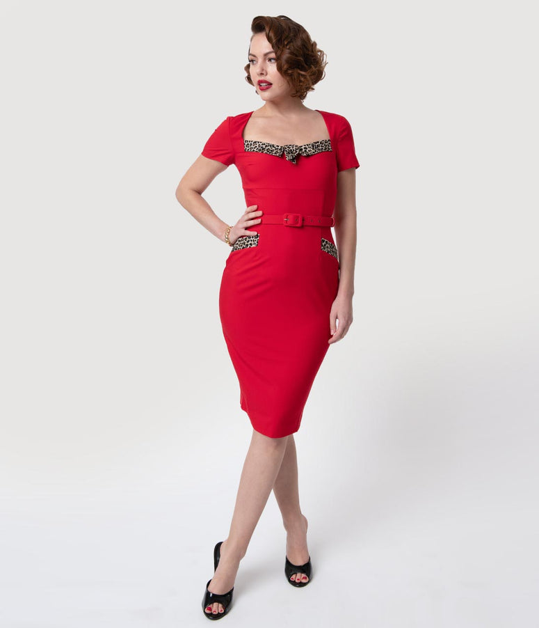 Glamour Bunny 1960s Red & Leopard Print Short Sleeve Ella Pencil Dress