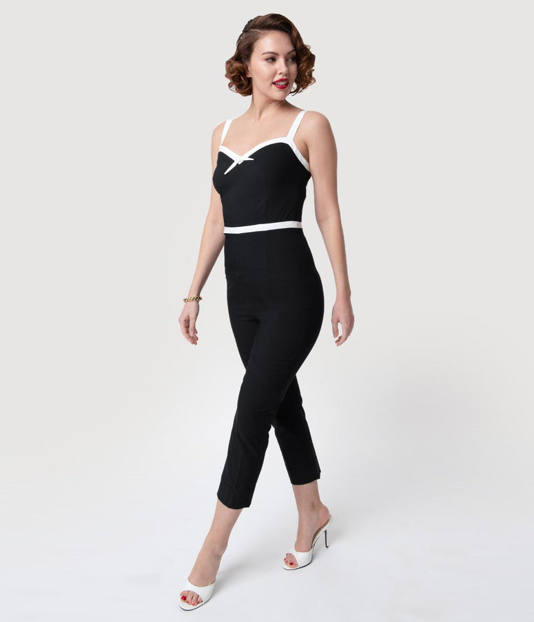 23b7d9ddfcc Glamour Bunny 1960s Black   White Sweetheart Rebecca Jumpsuit