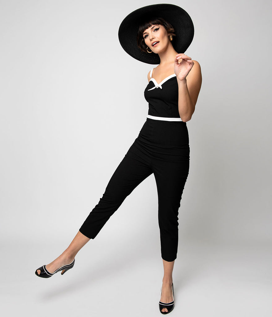Glamour Bunny 1960s Black & White Sweetheart Rebecca Jumpsuit