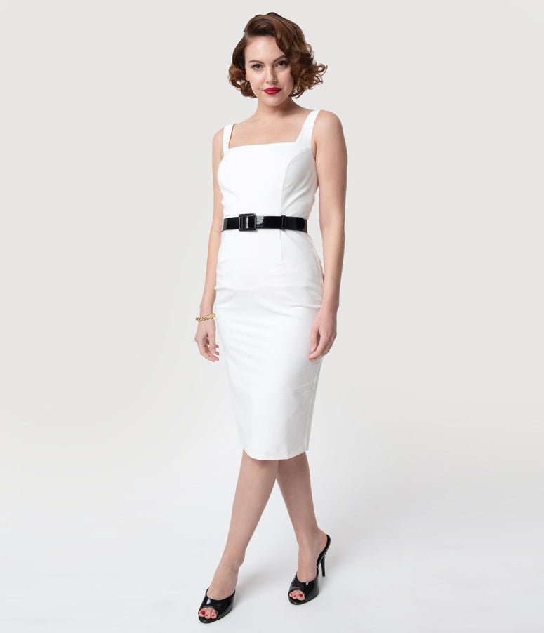Glamour Bunny White Sleeveless Rachel Cocktail Pencil Dress