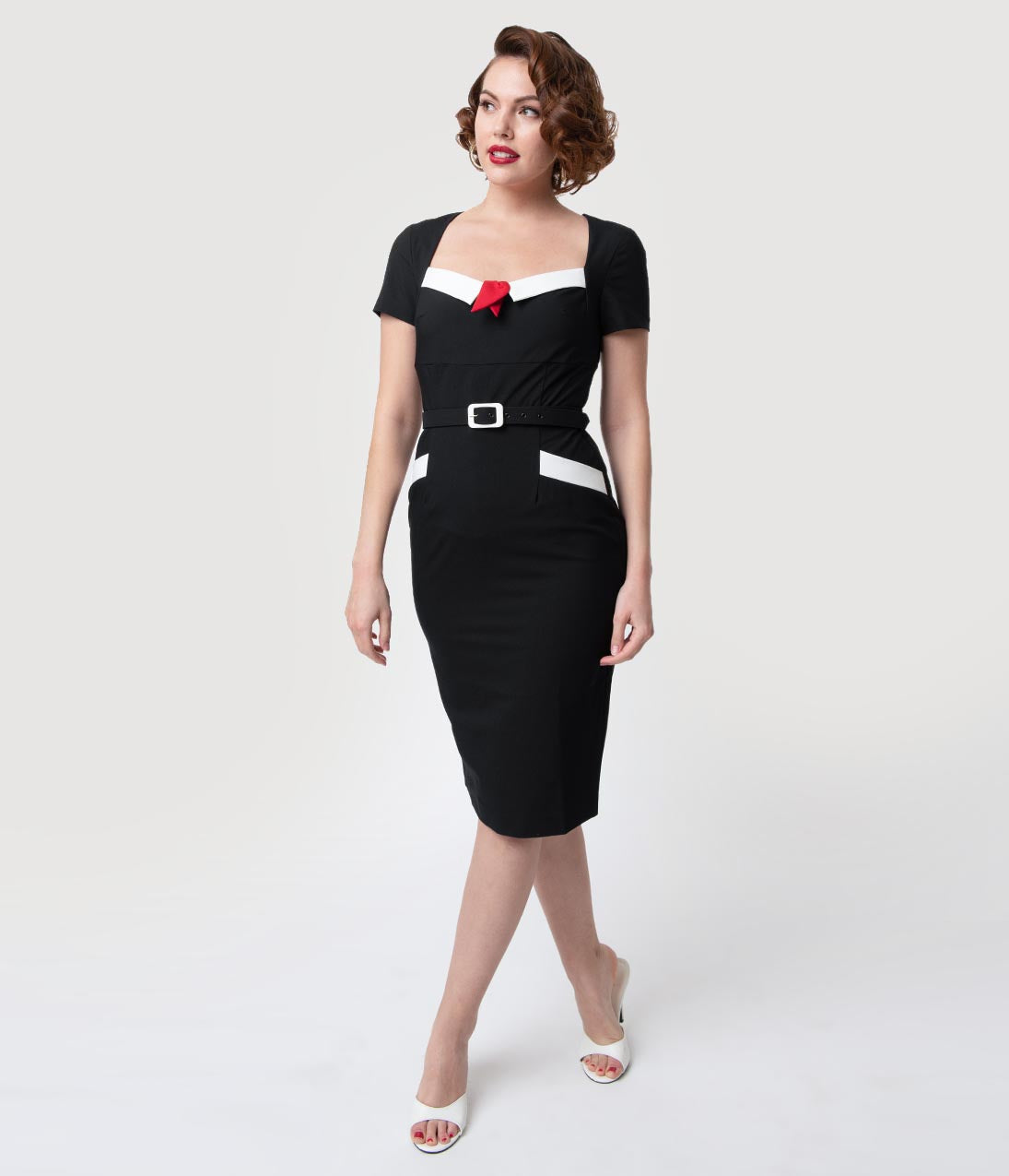 1950s Swing Dresses | 50s Swing Dress Glamour Bunny 1960S Black  White Short Sleeve Ella Pencil Dress $122.00 AT vintagedancer.com