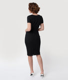Glamour Bunny 1960s Black & White Short Sleeve Ella Pencil Dress