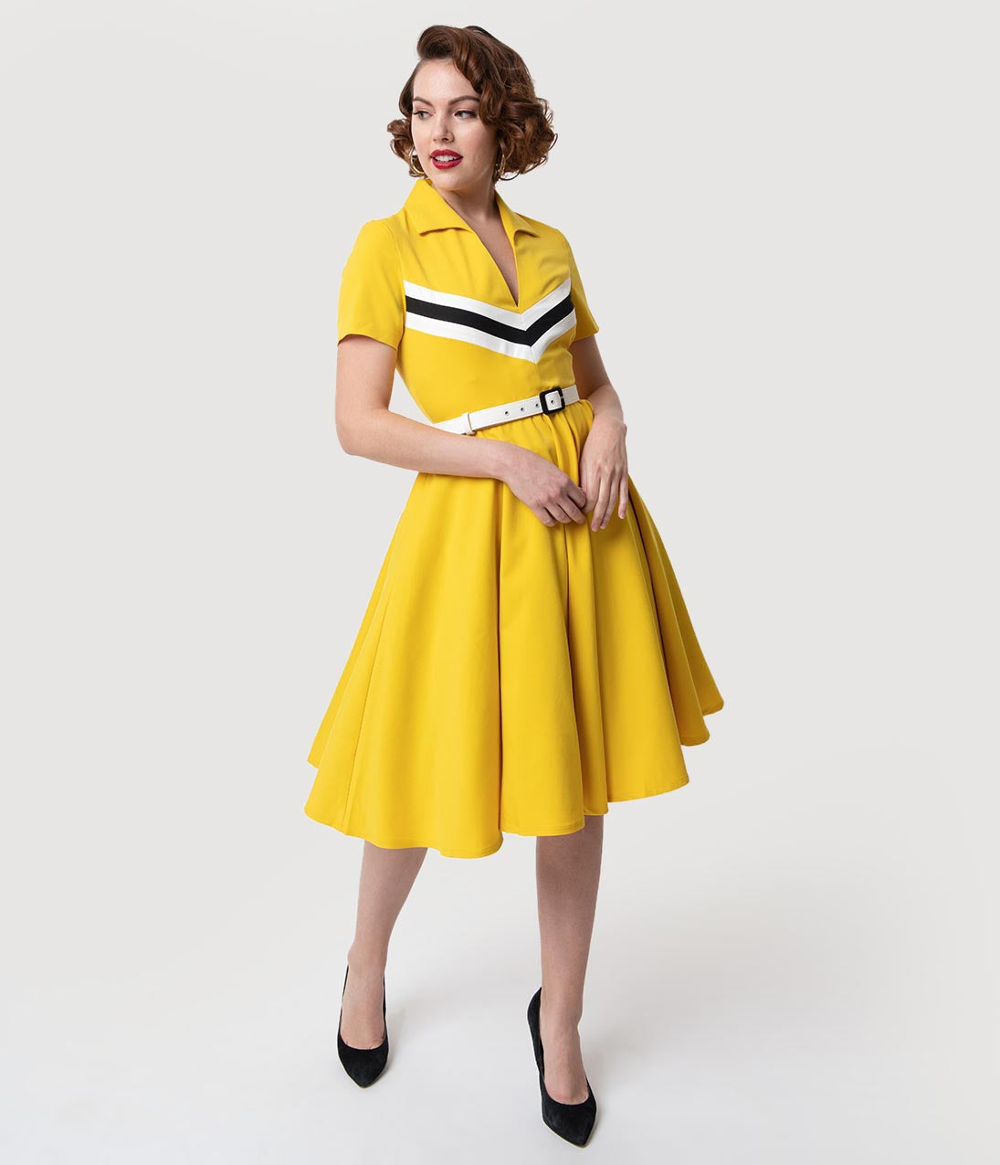 1960s Dresses | 60s Dresses Mod, Mini, Jackie O, Hippie Glamour Bunny Yellow  Retro Stripes Short Sleeved June Swing Dress $132.00 AT vintagedancer.com