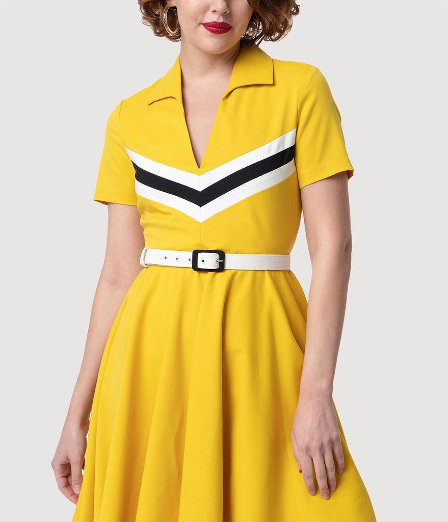 Glamour Bunny Yellow & Retro Stripes Short Sleeved June Swing Dress