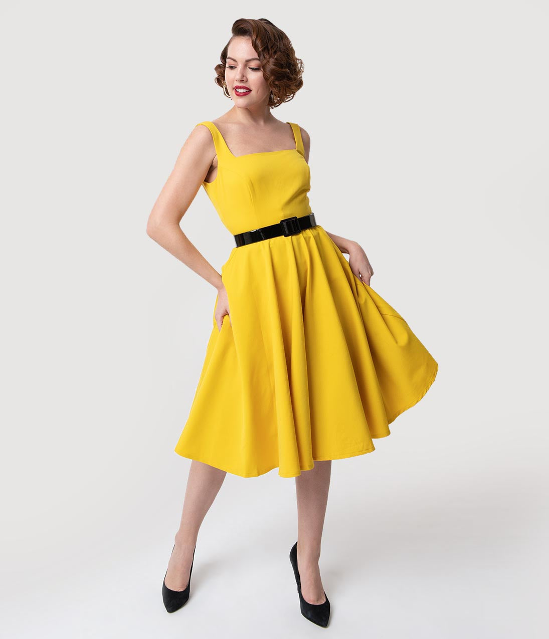 1950s Swing Dresses | 50s Swing Dress Glamour Bunny 1950S Style Yellow Sleeveless Rachel Swing Dress $126.00 AT vintagedancer.com