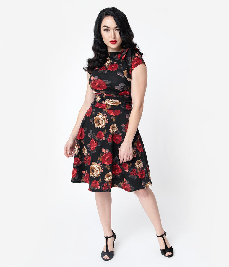 Folter Black & Red Roses Print Bombshell Fit & Flare Dress