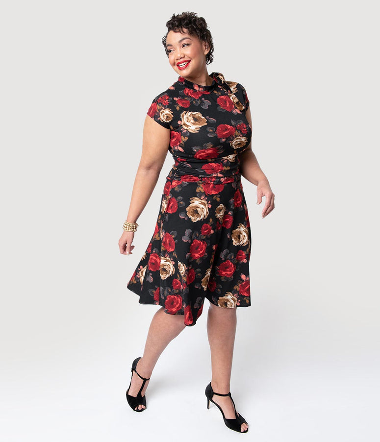 Folter Plus Size Black & Red Roses Print Bombshell Fit & Flare Dress