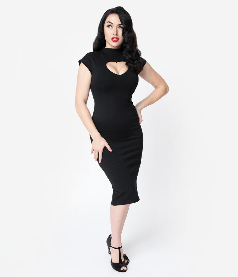 Folter Black Heart Keyhole High Collar Cap Sleeve Wiggle Dress