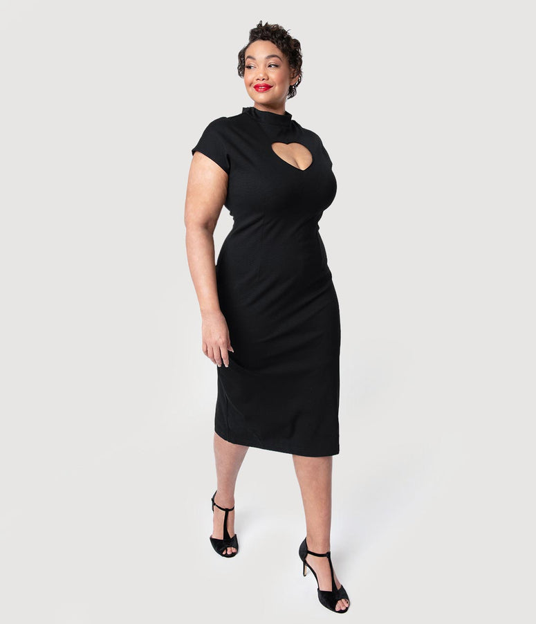 Folter Plus Size Black Heart Keyhole High Collar Cap Sleeve Wiggle Dress