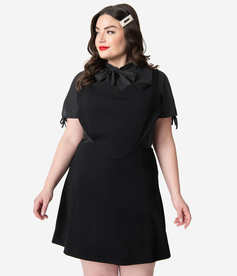 Retrolicious Plus Size Black Stretch Knit Heart Jumper Dress
