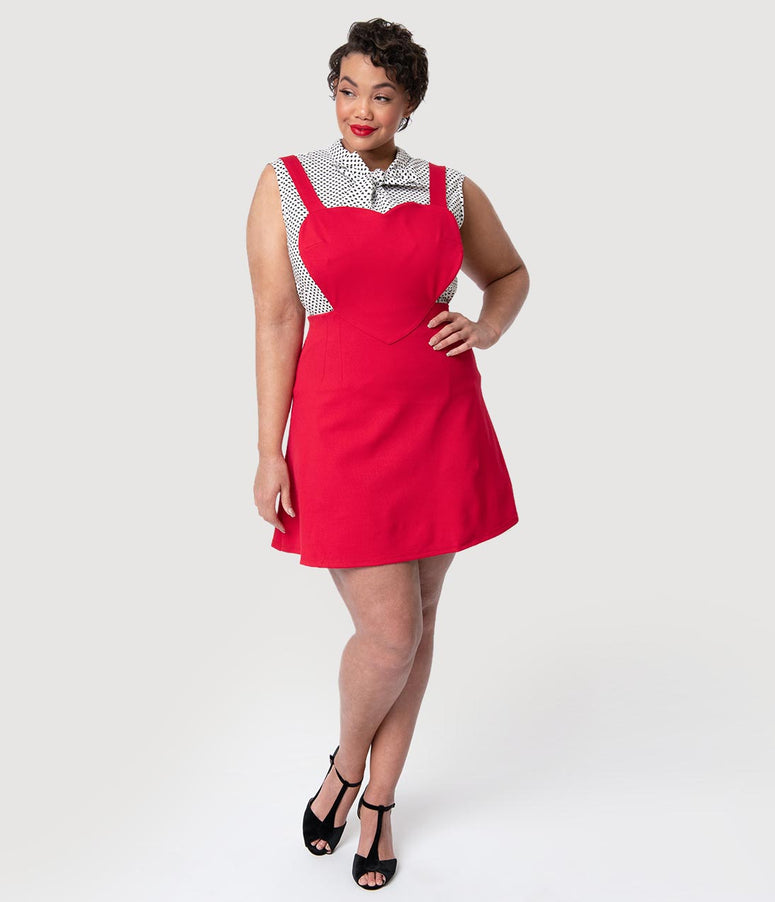 Folter Plus Size Red Stretch Knit Heart Jumper Dress