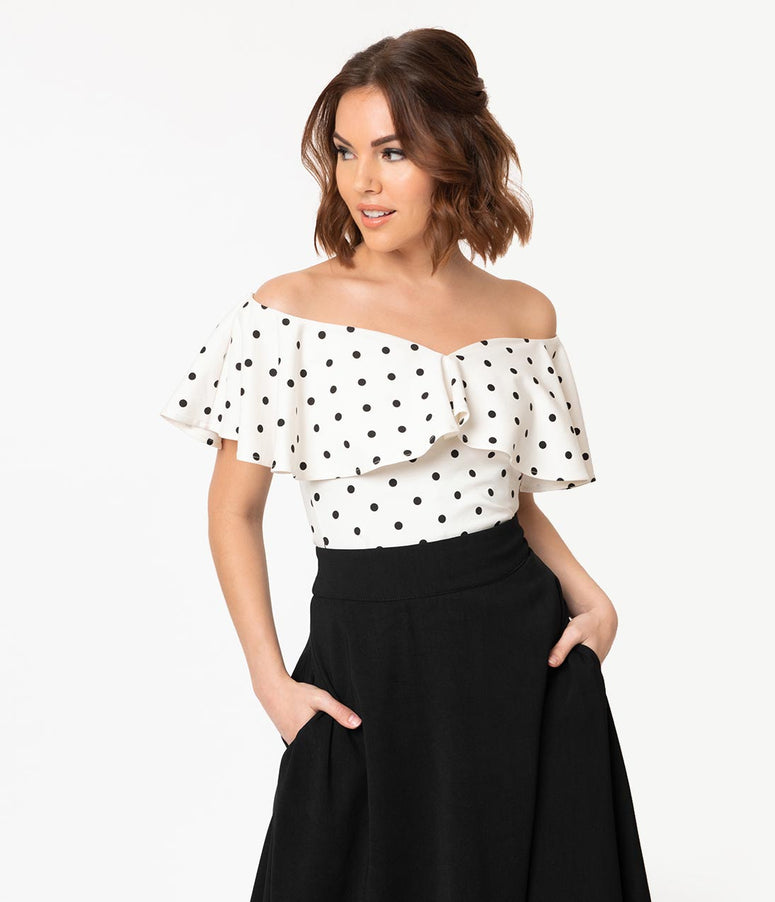 4cdf9b5eae005 Unique Vintage 1950s White   Black Polka Dot Off Shoulder Ruffle Frenchie  Top