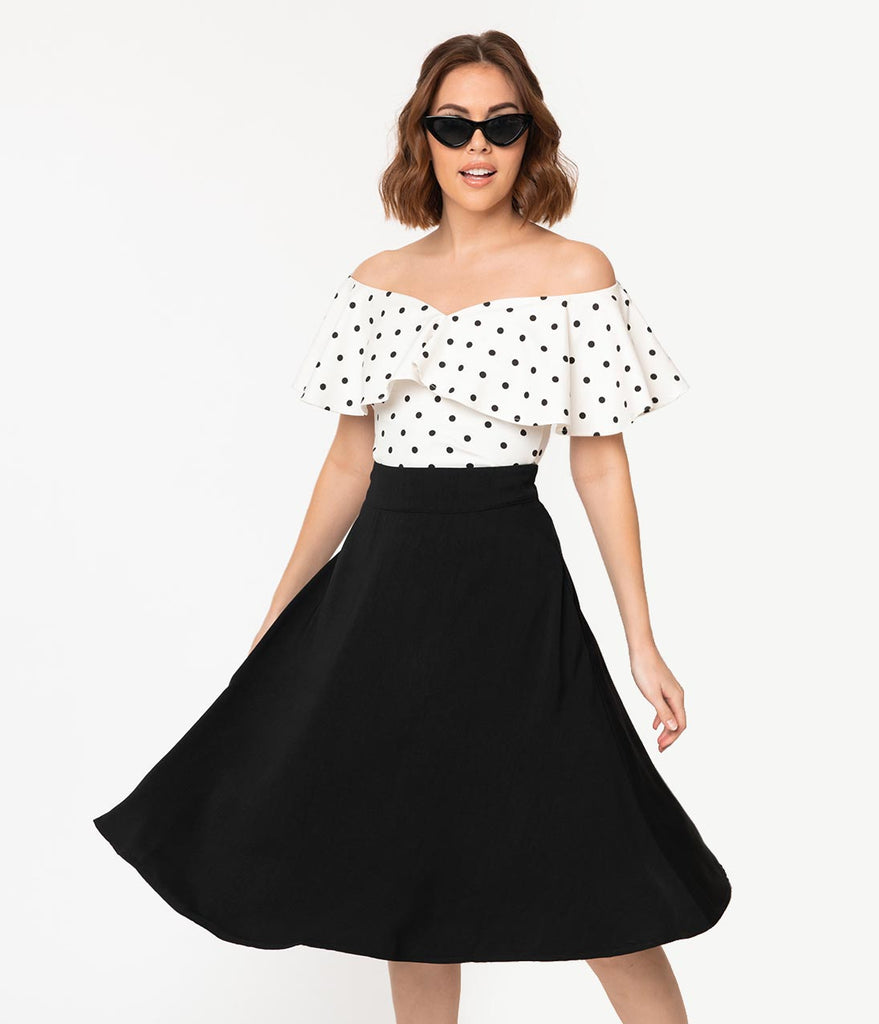 Unique Vintage 1950s White & Black Polka Dot Off Shoulder Ruffle Frenchie Top