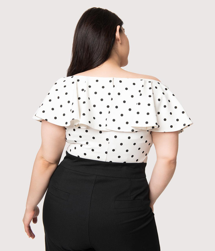 Unique Vintage Plus Size 1950s White & Black Polka Dot Off Shoulder Ruffle Frenchie Top