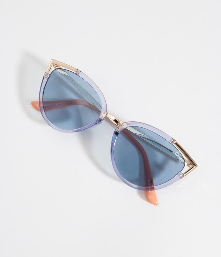 Quay Blue & Gold Hearsay Cat Eye Sunglasses