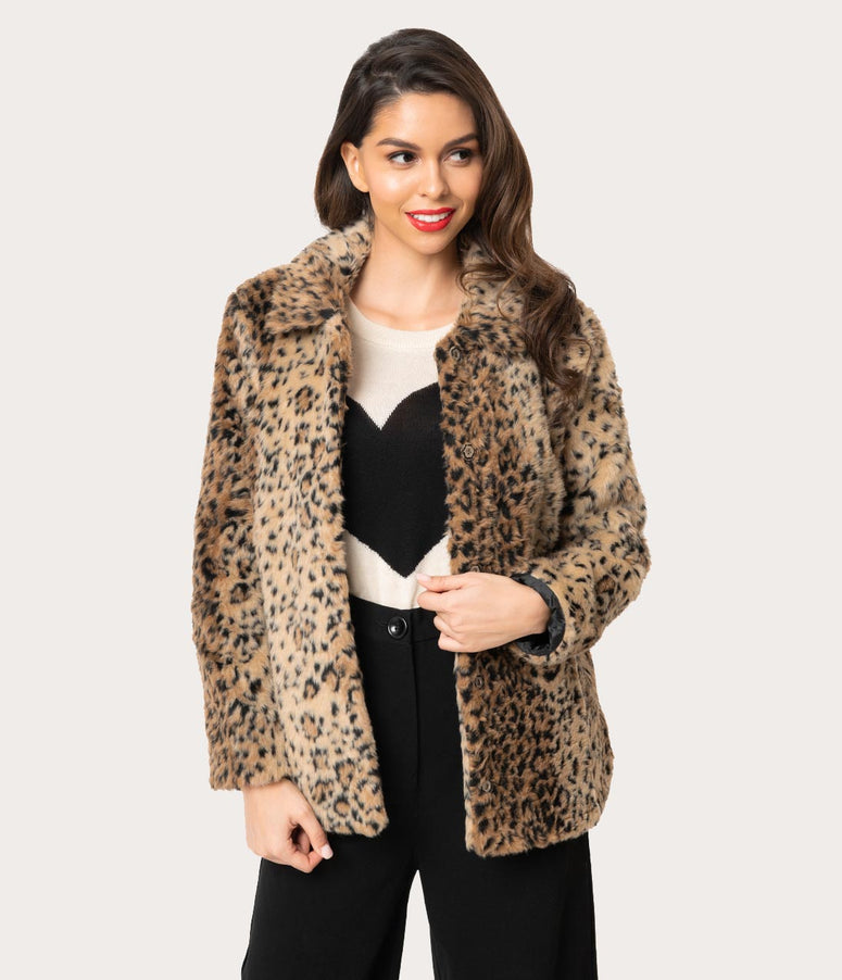 Retro Style Leopard Faux Fur Button Up Jacket