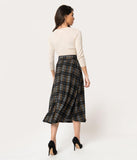 Vintage Style Black & Mustard Plaid Knit High Waist Midi Skirt