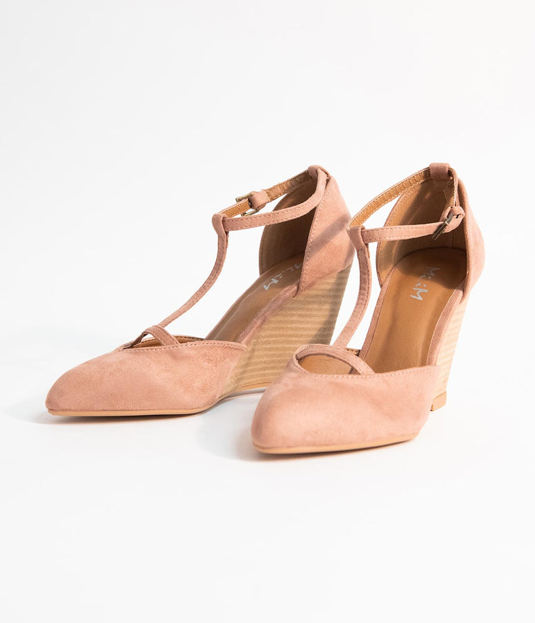 Mauve Pink Suede T-Strap Wedge Heels
