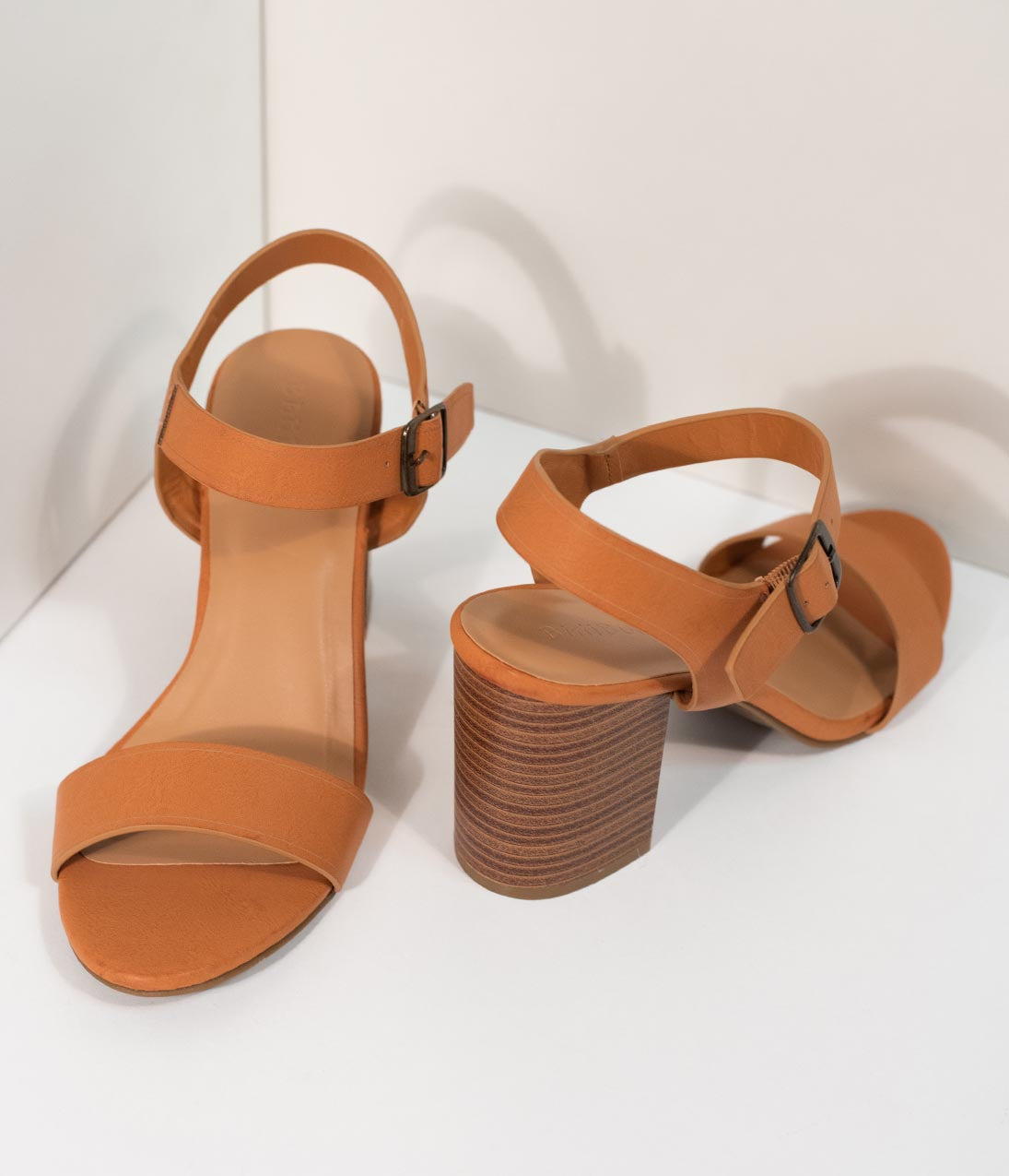 Vintage Sandal History: Retro 1920s to 1970s Sandals Tan Leatherette Open Toe Block Heel Sandals $44.00 AT vintagedancer.com