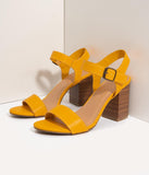 Mustard Yellow Leatherette Open Toe Block Heel Sandals