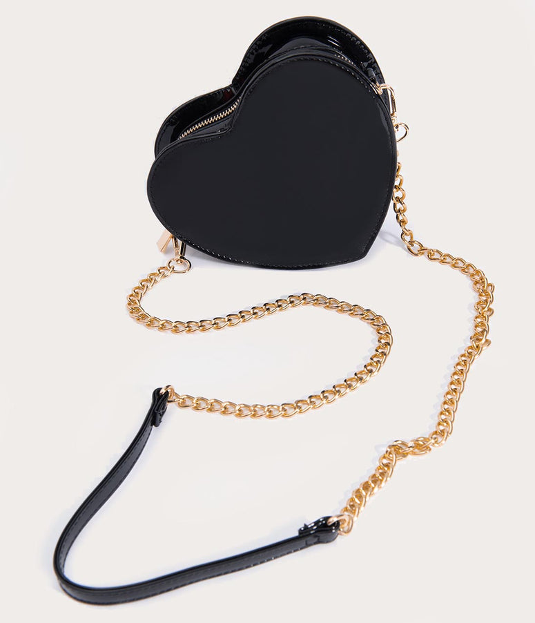 Black Vinyl Heart Crossbody