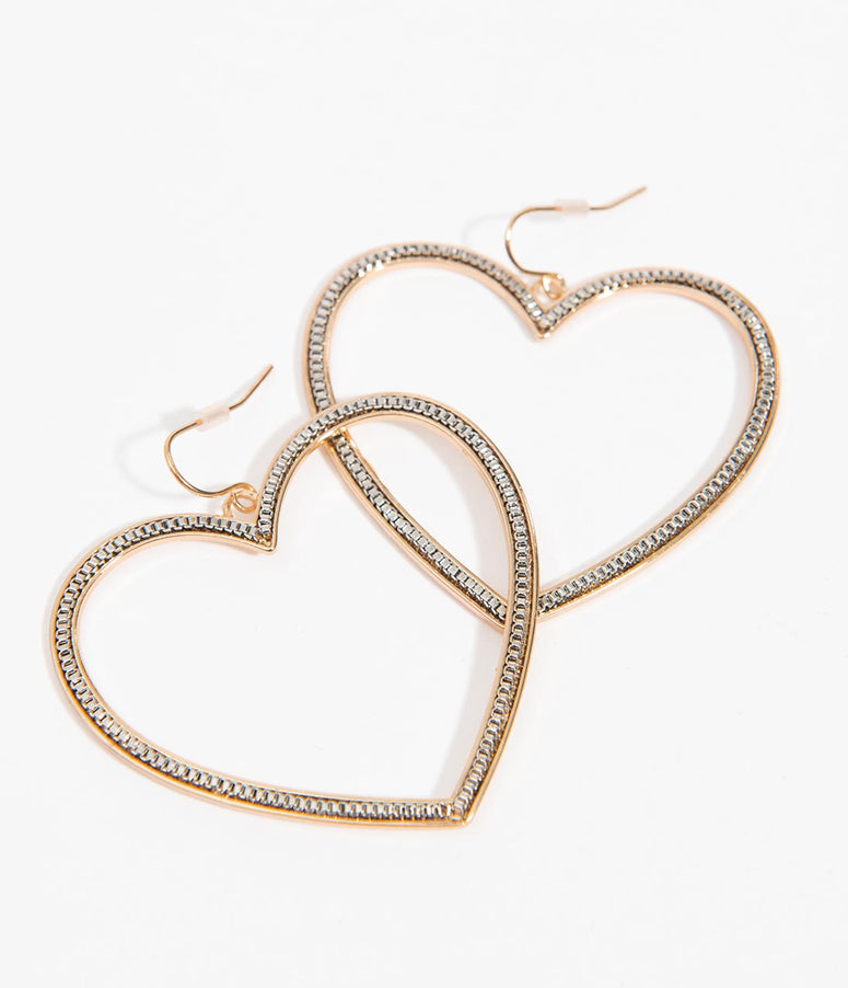 Gold Heart Meal Hoop Earrings