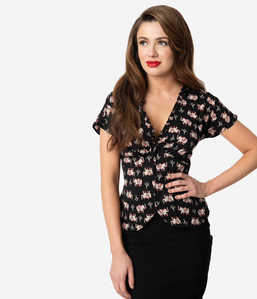Unique Vintage Black Elephant Print Crepe Short Sleeve Geraldine Blouse