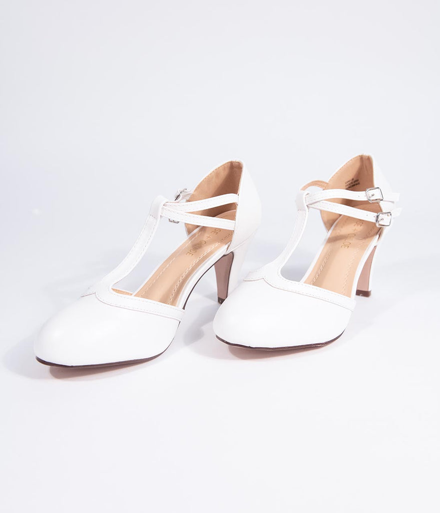 Vintage Style White Leatherette Round Toe T-Strap Heels