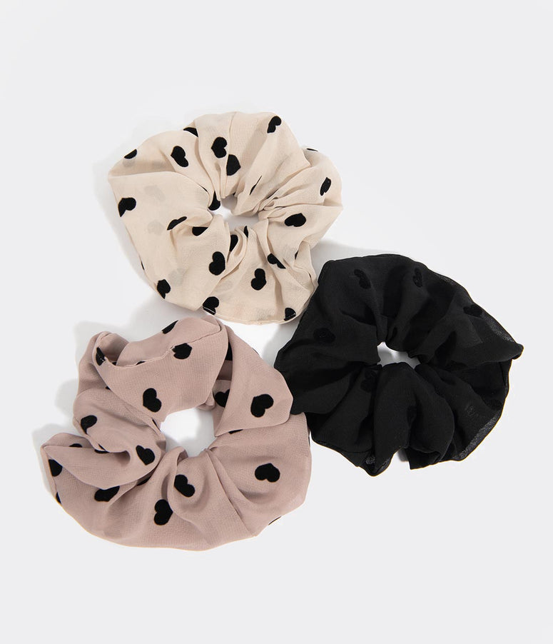 Black Velvet Heart Dotted Three Piece Hair Scrunchie Set