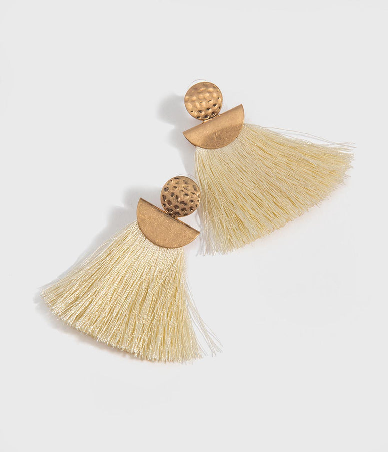 Ivory Fringe & Gold Drop Earrings