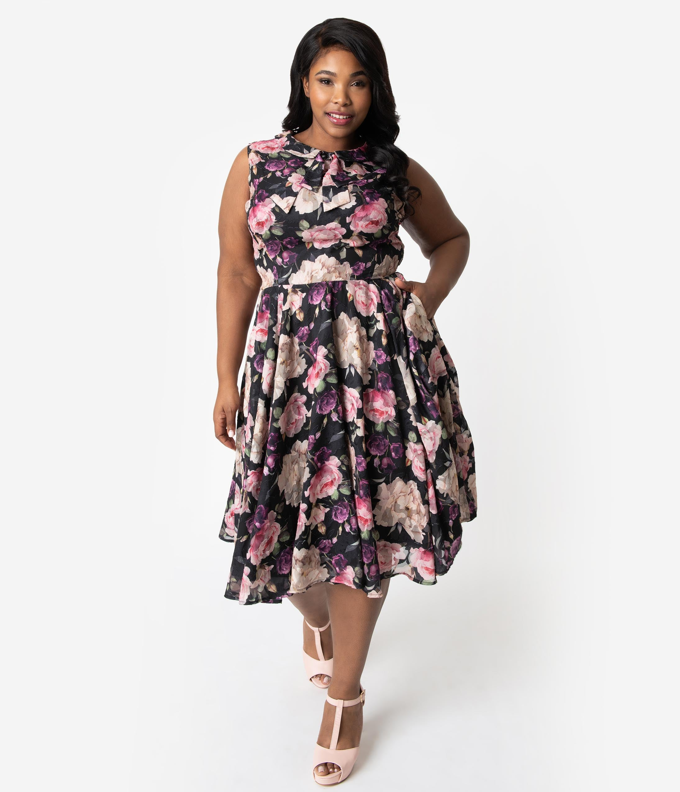 Plus Size A-line Natural Waistline Collared Floral Print Sleeveless Fall Swing-Skirt Fitted Pocketed Mesh Darts Vintage Dress With a Bow(s)