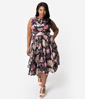 Plus Size A-line Fall Floral Print Swing-Skirt Collared Sleeveless Natural Waistline Vintage Mesh Pocketed Fitted Darts Dress With a Bow(s)