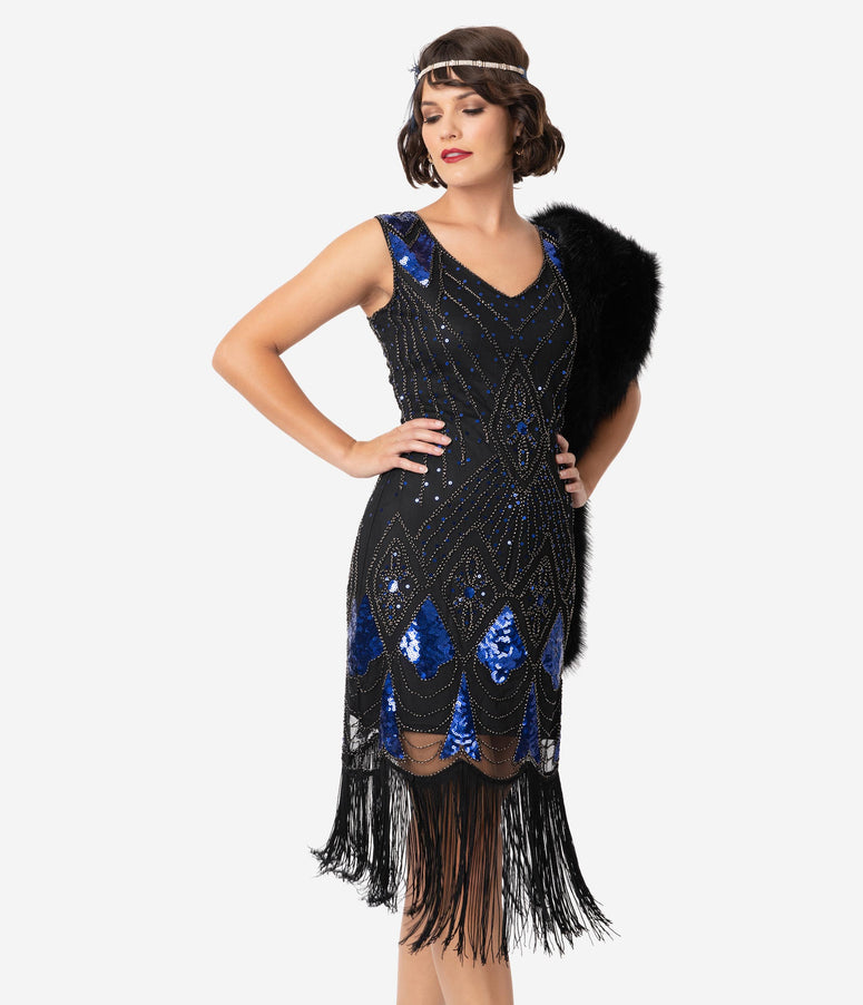 Unique Vintage Black & Blue Sequin Lina Fringe Flapper Dress