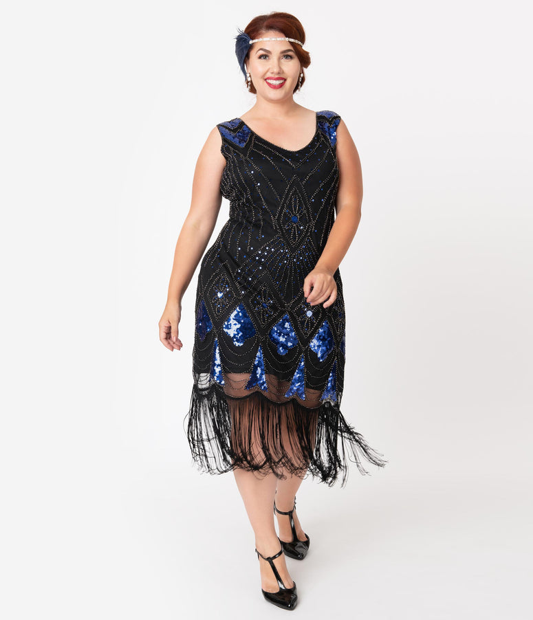 Unique Vintage Plus Size Black & Blue Sequin Lina Fringe Flapper Dress