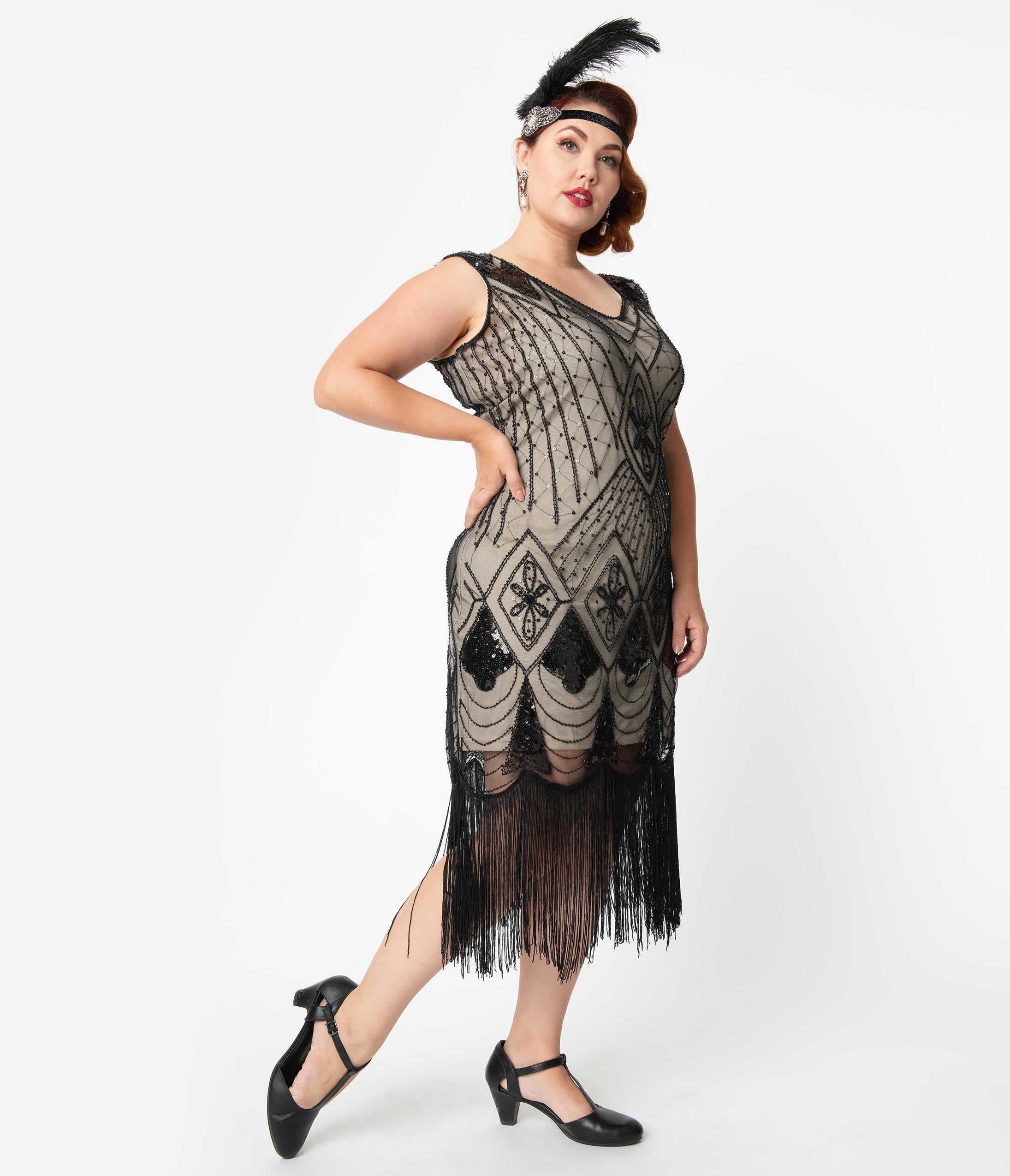 1920s Plus Size Flapper Dresses, Gatsby Dresses, Flapper Costumes Unique Vintage Plus Size Beige  Black Sequin Lina Fringe Flapper Dress $98.00 AT vintagedancer.com