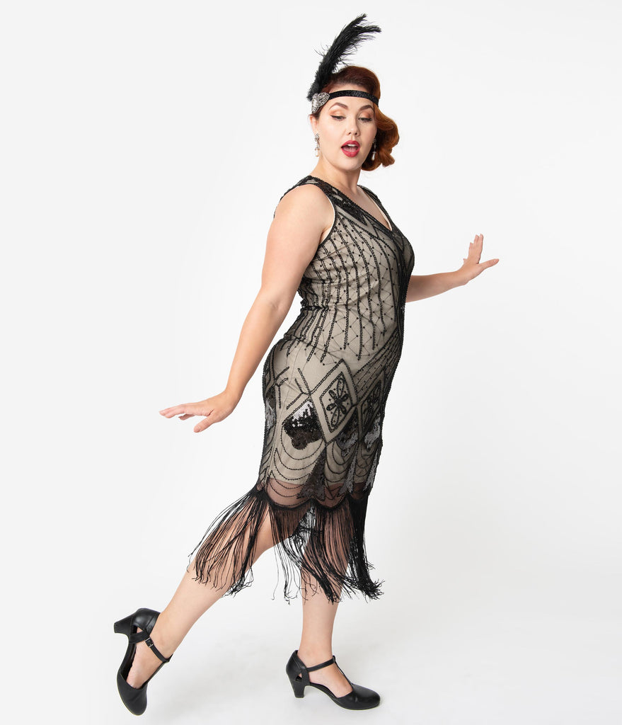 Unique Vintage Plus Size Beige & Black Sequin Lina Fringe Flapper Dress