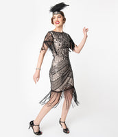 Modest Knit Stretchy Sequined Beaded Vintage Mesh Fitted Cap Sleeves Cocktail Scoop Neck Dress