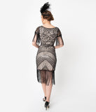 Unique Vintage Blush Pink & Black Sequin Fringe Sleeved Laure Flapper Dress