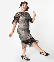 Plus Size Modest Knit Cocktail Scoop Neck Sequined Beaded Fitted Mesh Vintage Stretchy Cap Sleeves Dress